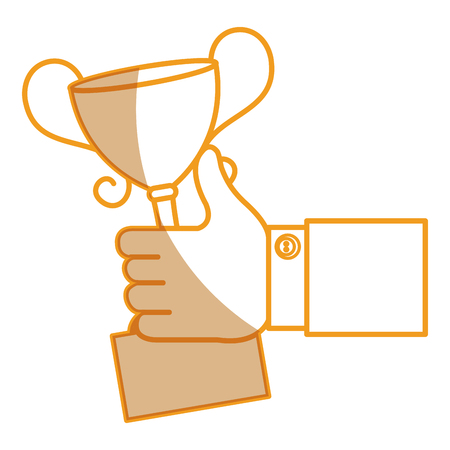 hand human with trophy cup isolated icon vector illustration design