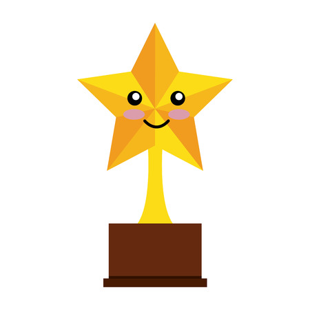 trophy star comic character isolated icon vector illustration design