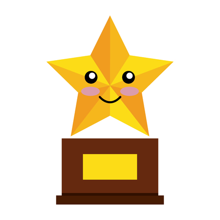 hollywood star: trophy star comic character isolated icon vector illustration design