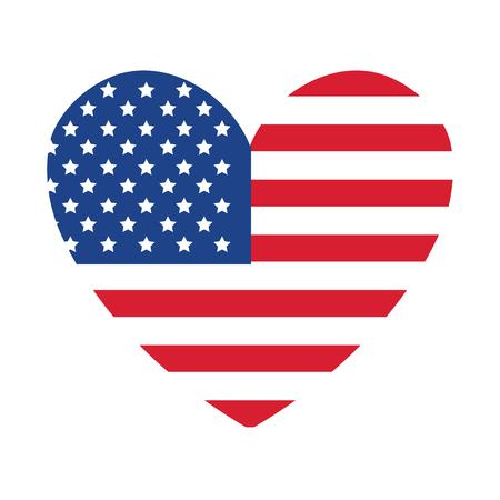 Estados Unidos statae de la bandera de América con forma de corazón diseño de ilustración vectorial Foto de archivo - 77742465