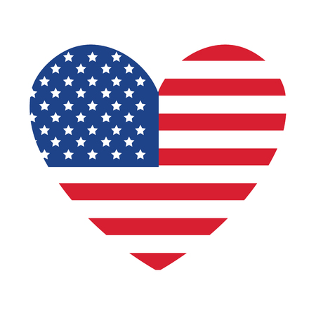 united statae of america flag with heart shape vector illustration design