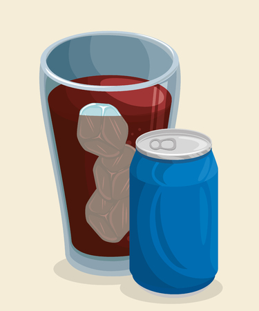 A glass of cola soda with ice cubes and blue can over beige background. Vector illustration.