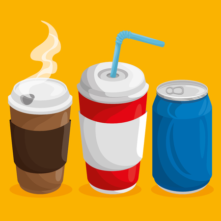 A cup of hot coffee, a soda can and cup of soda with straw over orange background. Vector illuistration. Ilustração
