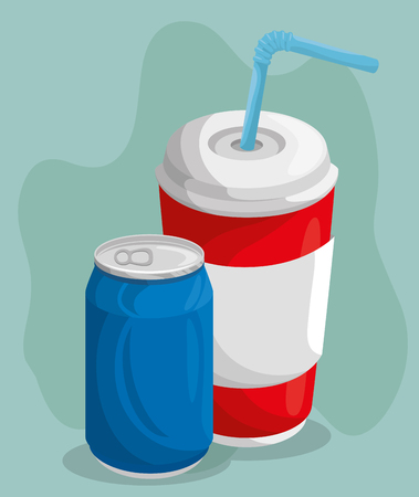 A soda can and cup with straw over teal background. Vector illustration. Иллюстрация