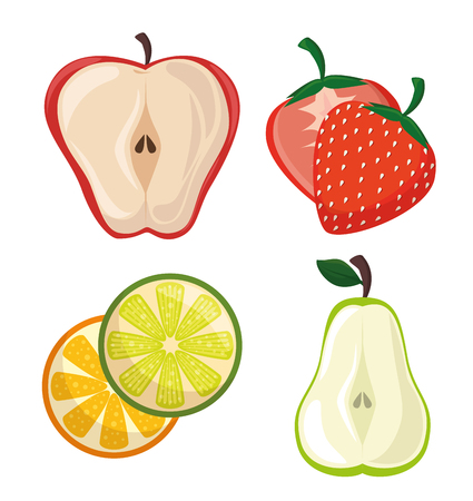 Colorful sliced fruits over white background. Vector illustration. Illustration
