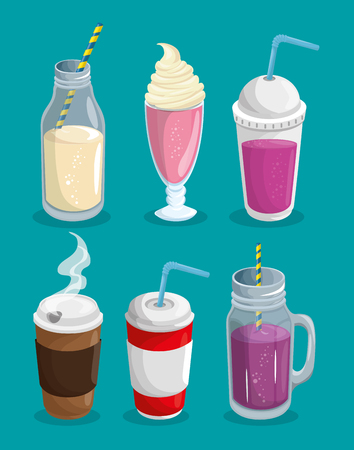A set of hot and cold beverages over blue background. Illustration