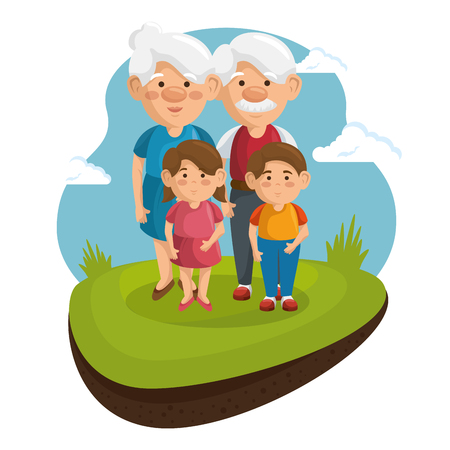Grandparents and grandchildren at park with green grass and blue sky over white background. Vector illustration. Illustration