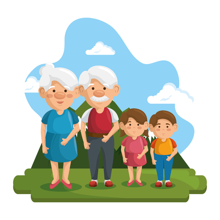 Grandparents and grandchildren at park with mountain and blue sky behind, over white background. Vector illustration. Illustration