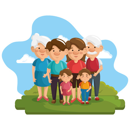 Happy family at park with green bushes and blue sky over white background. Vector illustration.
