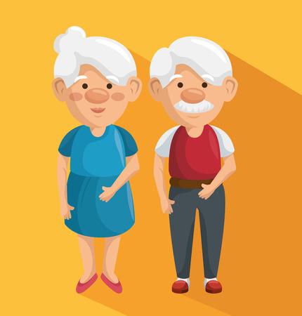 Standing elder couple over orange background. Vector illustration. Illustration