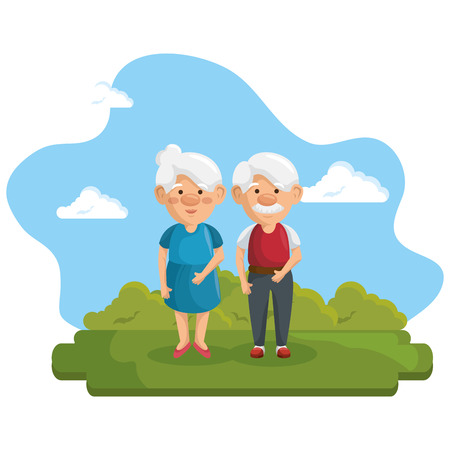 Old people at the park with green bushes and blue sky over white background. Vector illustration. Illustration