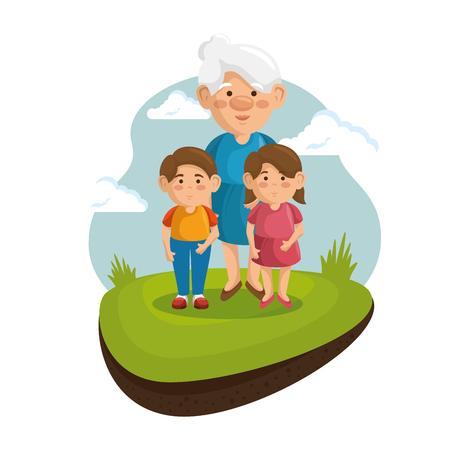 할머니와 손자 녹색 잔디와 파란 하늘 흰색 배경 위에 공원에서. 일러스트