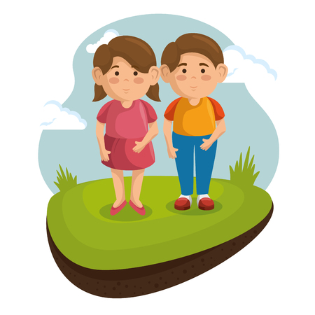 Two kids at the park with green grass and blue sky over white background. Vector illustration.