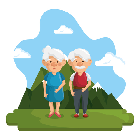 Standing old people with mountains and blue sky behind over white background. Vector illustration. Illustration