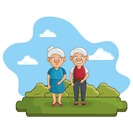 Old people at the park with green grass, bushes. and blue sky over white background. Vector illustration.