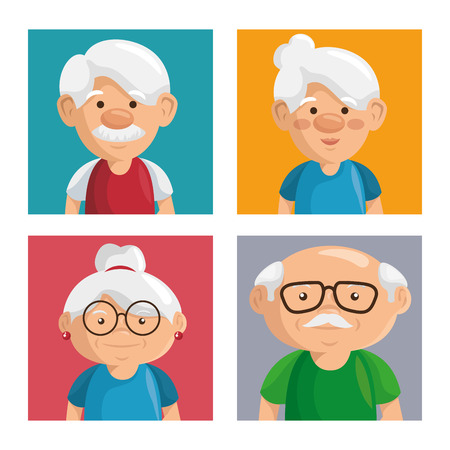 Colorful grandparents portraits with white frame. Vector illustration.