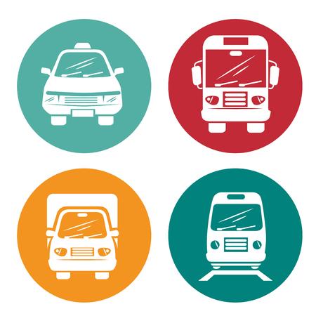 Icone colorate con mezzi di trasporto silhouette su sfondo bianco. Illustrazione vettoriale.