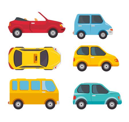Means of transport set over white background. Vector illustration.