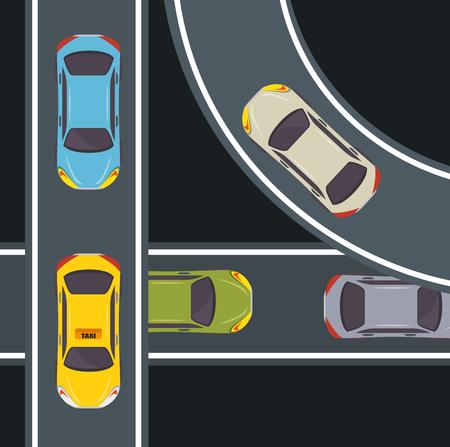 Seen from above, colorful cars and highway over black background. Vector illustration. Ilustração
