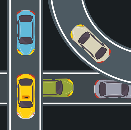 Seen from above, colorful cars and highway over black background. Vector illustration. Illustration