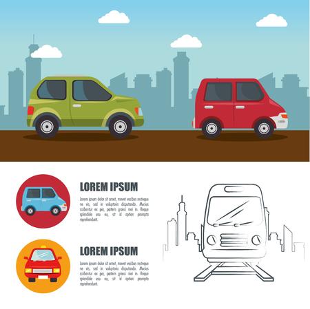 車、昼間の街のスカイラインと手描きの鉄道輸送のインフォ グラフィックの手段です。ベクトルの図。