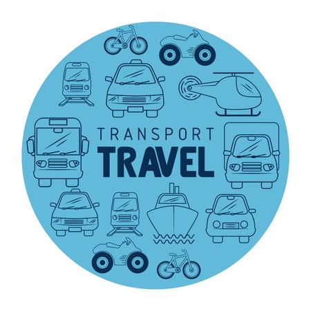 白い背景上の輸送の手段を手描きでトランスポート旅行アイコン。ベクトルの図。