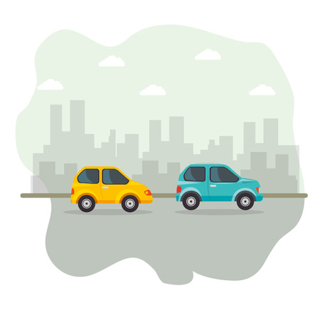 Yellow and blue vehicles with city skyline icon over white background. Vector illustration. Illustration
