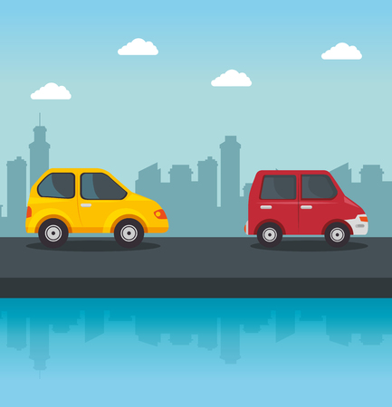 Yellow and red vehicles with street and city skyline design. Vector illustration.