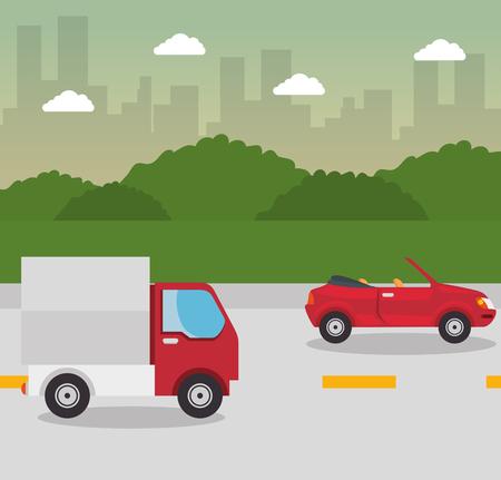 Truck, red cabriolet car, street, bushes and city skyline design. Vector illustration,