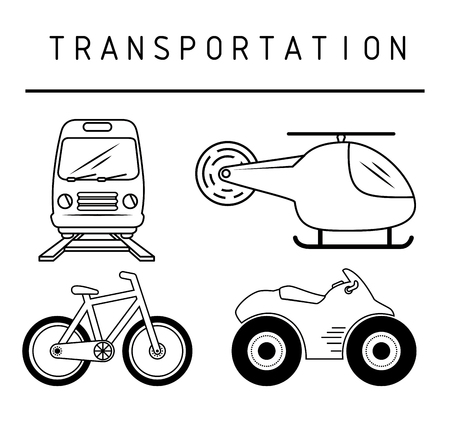 Hand-drawn means of transportation over white background. Vector illustration.