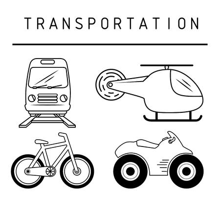Moyens de transport dessinés à la main sur fond blanc. Illustration vectorielle.