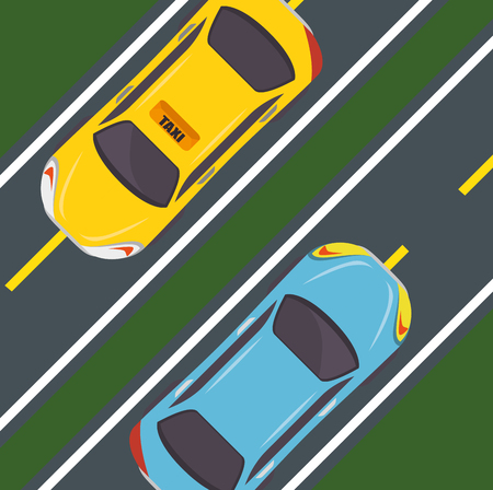 Seen from above, two streets, a taxi cab and a blue car over green background. Vector illustration.