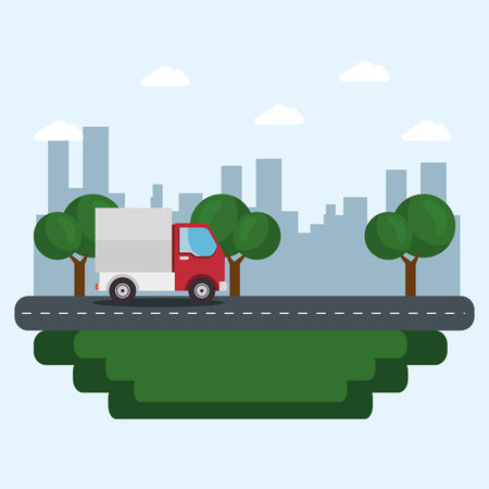 A red truck, a street, some trees and city skyline over blue background. Vector illustration. Illustration
