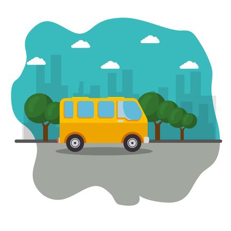 黄色いミニバス、通り、いくつかの木、白い背景の上の都市スカイライン アイコン。ベクトルの図。