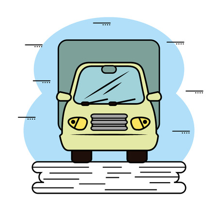 Front view of a truck icon, over white background. Vector illustration.