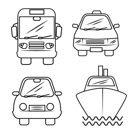 Hand-drawn means of transport over white background. Vector illustration.