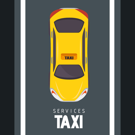Seen from above, a yellow taxi cab and a street over black background. Vector illustration.