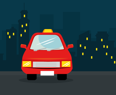Red car with nighttime city skyline behind. Vector illustration. Illustration