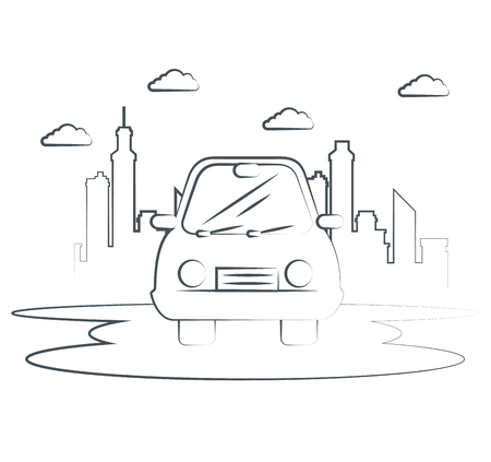 Hand-drawn car with city skyline behind over white background. Vector illustration.