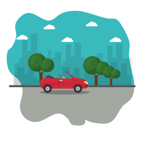 Red cabriolet car, street, some trees and city skyline icon over white background. Vector illustration.