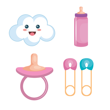 Baby-related objects set over white background. Vector illustration. Ilustração