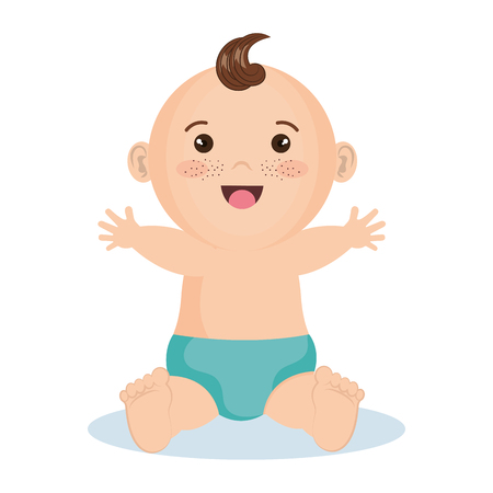 Cute happy baby boy with blue diaper over white background. Vector illustration.