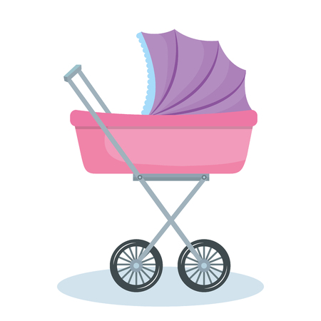 흰색 배경 위에 보라색과 분홍색 아기 유모차. 벡터 일러스트 레이 션. 일러스트