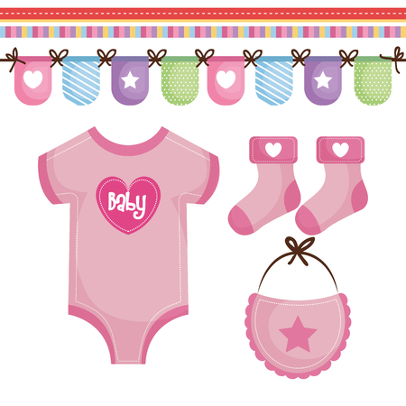 Pink baby clothing and colorful decorative banner over white background. Vector illustration.