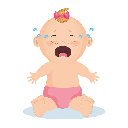 Crying baby girl with pink bow and diaper over white background. Vector illustration.