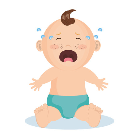 Crying baby boy with blue diaper over white background. Vector illustration.