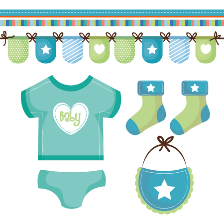 Teal and green baby clothing with decorative banner over white background. Vector illustration. Illustration