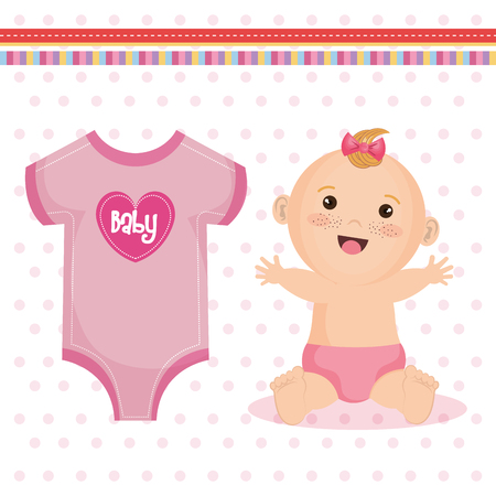 Cute happy baby girl with pink bow, diaper and baby clothing,  over pink dotted background. Vector illustration. Illustration