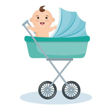 흰색 배경 위에 청록 유모차에 귀여운 아기 소년. 벡터 일러스트 레이 션.