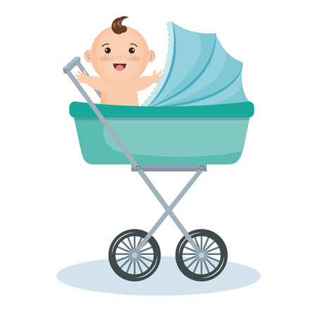 Cute baby boy in teal stroller over white background. Vector illustration. Çizim